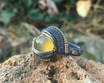 Oxidized Yellow Moonstone w/ 14kt Gold Ring  SIZE 6
