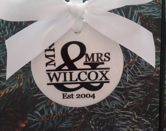 Couples Established Christmas Ornament Mr & Mrs EST Year Wedding Gift Anniversary First XMas Keepsake Sublimated Personalized NOT Vinyl