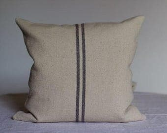 Grey Striped French Grainsack Cushion