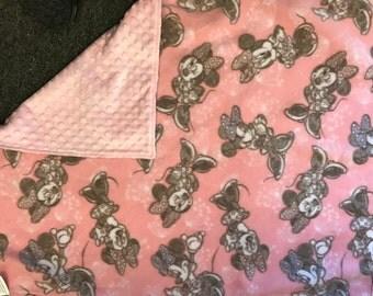 minnie mouse soft pink fleece & minky stroller blanket, blankie, woobie, car seat blankie
