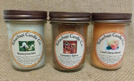 Pick Three: 8 oz Canning Jar Soy Candle, you pick the scents