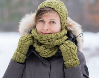 Women's Hand Knit Hat, Snood and Mittens / Olive Knit Set / Winter Hat, Scarf and Mittens