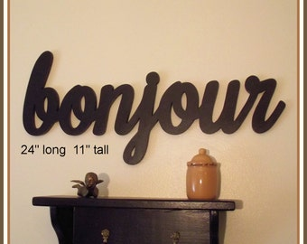 Bonjour -  Hello - Wooden French Bonjour Sign, Handmade wood wall decor sign - Bonjour France Hello Good Day