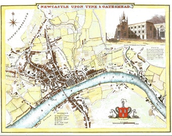 Newcastle Upon Tyne Gateshead Town Plan Map 1994 by Cole & Roper Antique Map 1837 County Map Moule Wall Art Historical Map Print Home Decor