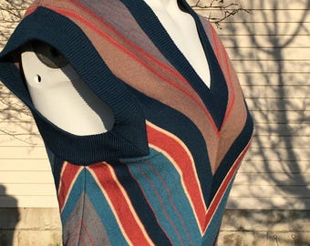 1970's geek chic chevron sweater dress/1970's librarian chic sweater dress/1970's fitted chevron stripe sweater dress