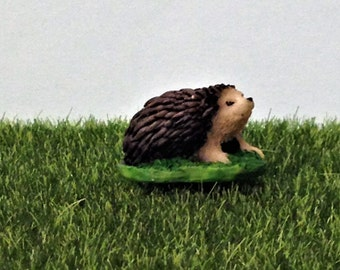 Miniature Hedgehog Figurine, Fairy Garden Accessory, Terrarium Supply