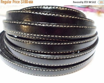 Pre Cuts, No Joins, 10mm Flat Leather Cord, Black Double Stitched, flat leather bracelet finding, jewelry supplies