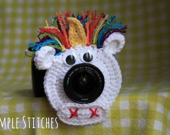 Unicorn Camera Lens Buddy - Crocheted Lens Helper