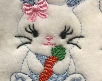 UNCUT Girl bunny with carrot feltie