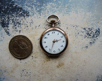 Antique Swiss made WORKING!!! Small Pocket Watch in coin silver 0.800 case / small open face pocket watch / Women's watch / Silver jewelry