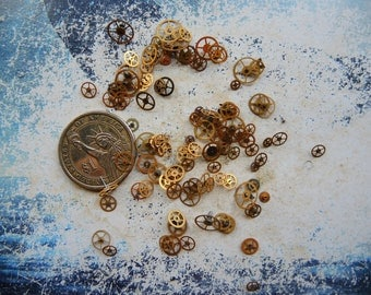 Vintage Tiny BRASS gear / Steampunk Gears / Altered Art Industrial Mixed Media Assemblage Scrapbooking / Watch gears / Watch parts Ww7b