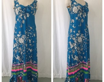 Vintage 1960's Teal Floral Maxi Dress with Bold Stripe Detail