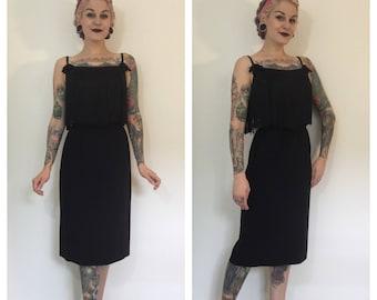Vintage 1960's Black Wiggle Dress with Fringe