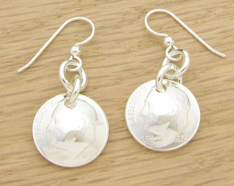 For 65th: 1952 US Dime Earrings 65th Birthday or 65th Anniversary Gift Coin Jewelry