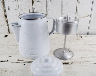Vintage Enamelware Teapot Coffee Pot White Country Kitchen Decor