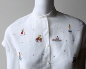 RESERVED   Vintage 1940's/50's White Linen Blouse with Petit Point Matador Spanish Peasant Embroidery