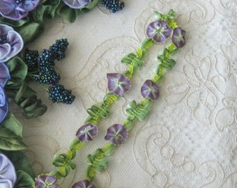 Purple Ombre Ribbonwork Floral Trim - Sold by the Yard - Rayon - Crafts, Sewing, Crazy Quilt, Costumes, Scrapbooking