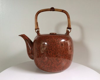 Taylor And Ng Porcelain Teapot With Bamboo Handle