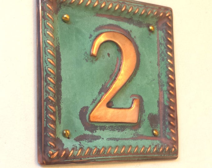 "Metal Address Plaque with barley twist frame 2""/50mm number  in polished and patinated copper sheet  g"
