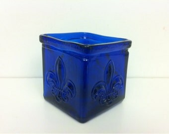 Cobalt Blue Glass  Square Cube Votive Candle Holder / Cobalt Blue Glass Cube Shaped Votive Candle Holder
