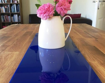 Rectangular Table Runner in Blue Gloss Finish 3mm Acrylic - 2 Sizes Available