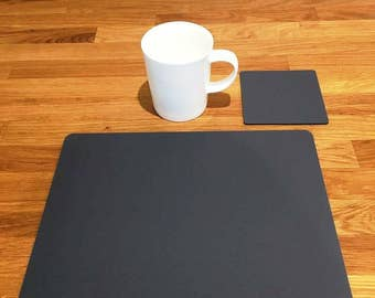 Rectangle Placemats or Placemats & Coasters - in Graphite Grey Matt Finish Acrylic 3mm