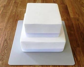 "Square Cake Board, Light Grey, Mat Finish 3mm Acrylic, Sizes  7"", 9"", 11"", 13"", 15"" & 17"""