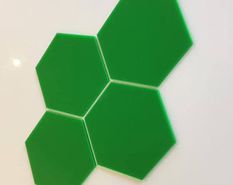 """Bright Green Gloss Acrylic Hexagon Crafting Mosaic & Wall Tiles, Sizes: 1cm to 20cm - 1"""" to 7.9"""""""