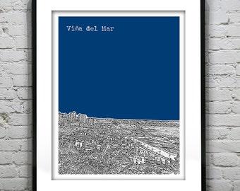 Viña de Mar Chile Poster Print Skyline Art South America Version 1