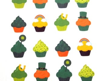 St. Patrick's Day Cupcake Planner Stickers, Decorative, Rainbow, Leprachaun, Shamrock, Matte Removable