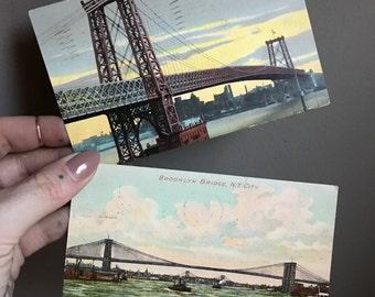 Williamsburg & Brooklyn Bridges Post Cards Brooklyn New York