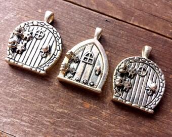 Fairy door pendant destash lot, jewelry destah, fairy door locket, fairy locket pendants, pixie fantasy jewelry set, silver tone, 3 pcs