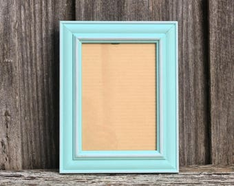 Bright Aqua Photo Frame with White Accents 5x7 inches