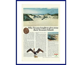 """Padre Island National Seashore / Sinclair Oil Original 1967 Vintage Color Print Ad - """"Why Texans Fought To Give Away Their Treasure Island"""""""