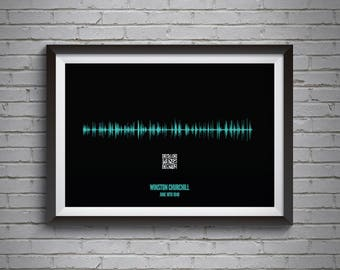 Fathers Day Gift Personalised Soundwave Poster With QR Code Ideal For Voice Recordings Or Songs A4