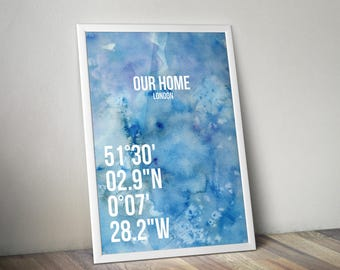 Personalized Coordinates Poster Print A3 Blue