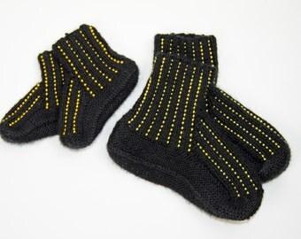 Knit  beaded slippers, crochet socks, Mommy and Me slippers, knit slippers, knit slippers, knit socks