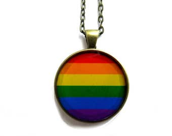 RAINBOW NECKLACE - Gay Pride - LGBTQ Pride - Rainbow pendant - Rainbow Jewelry - Accessories Lesbian Bisexual Transgender Rainbow Gift Idea