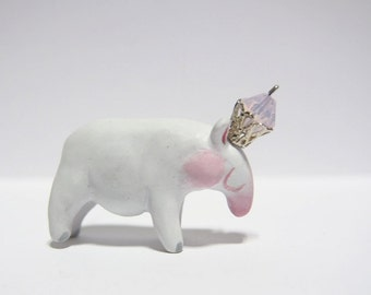 KING OF TAPIRS - Handmade Polymer Clay Sculptures With a Swarovski Crystal