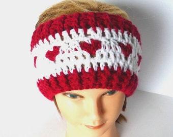 Sweetheart Headband, Red & White, Neck Warmer,  Wrap, Hair Accessories, Headband,  Fashion, Neckwarmer, Scarf, Girl, Woman