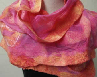 Nuno felt scarf, pink. Silk, felt, wool shawl, handmade for women
