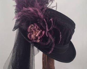 Victorian Felt Top Hats, Victorian, SASS, Tea Party, Black, Plum, Ostrich Feathers