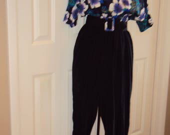 1980s Womens Black And Floral Belted Onepiece/Jumpsuit/Romper/Onsie/Pantsuit Size S-M  Spring Jumpsuit/ Purple/Teal/Royal Blue/White/Dolman