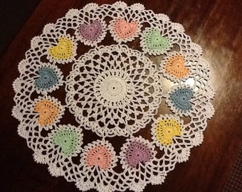 Beautiful Ring of Pastel Hearts Valentines Day Doily