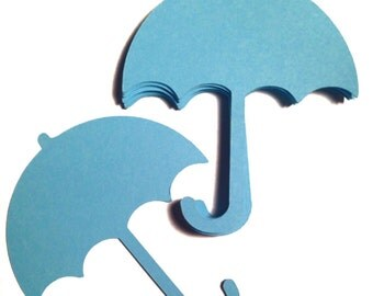 """Umbrella Paper Die Cut - Select a Color Set of 24 - 3""""- Baby Shower - Place Cards - Wish Tags - Name Tags - Guest book - Bridal shower"""