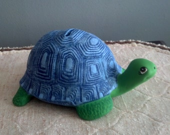 Ceramic Turtle  Coin Piggy Bank Blue