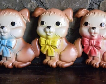 Chalkware Puppies, Chalkware Puppy Dog, Dog Chalkware, Retro Chalkware, Midcentury Chalkware, 1970's Chalkware, 1970's Wall Plaques