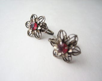 Antique sterling silver earrings, silver filigree, sterling screw backs, silver flowers, red stone flower, filigree clip ons, silver clip on