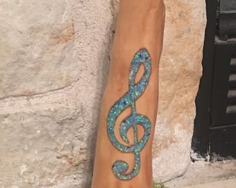 Blue crushed OPAL Inlay Cypress knee Art Treble Clef Music Lover Gift Wedding