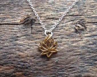 Sterling Silver Necklace with a Gold Vermeil Lotus Charm